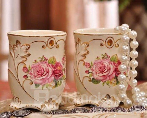 Romantic European Style Fragrance Rose Ceramic Tooth Mug