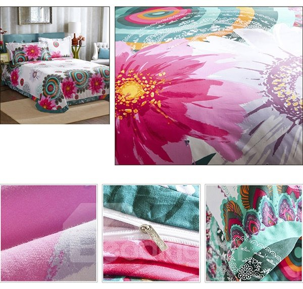 Beautiful White and  Pink Flower Print 4-Piece Cotton Duvet Cover Sets
