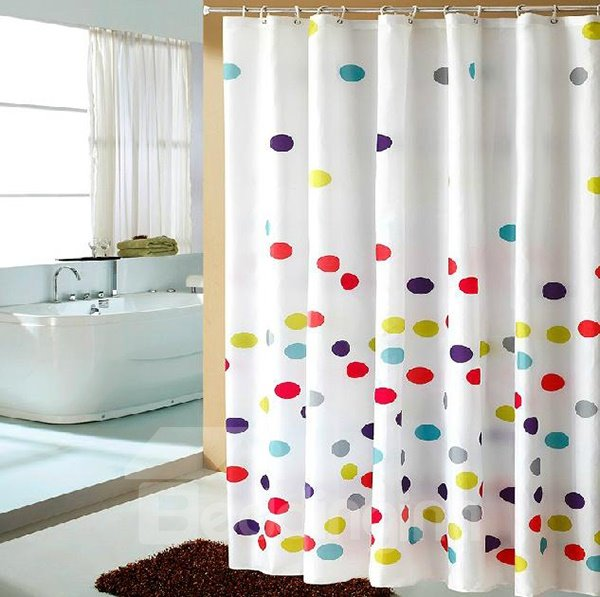 Vigorous Fantastic Colorful Circle Dacron Shower Curtain