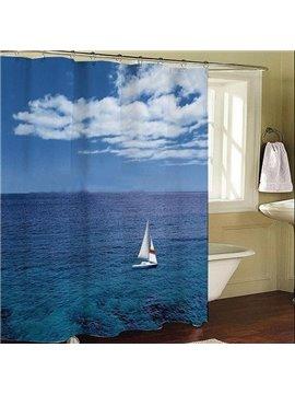 Roomy Sea Sky Sailing Blue Dacron Shower Curtain
