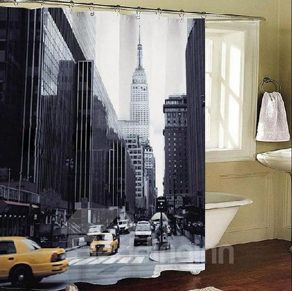 Chic Modern Street of New York Dacron 3D Printing Shower Curtain