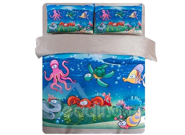 Super Cute Sea World Print 4-Piece Comfy Coral Fleece Duvet Cover Sets