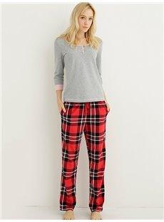 High Quality Fleece Plaid Flex Waistband Women Pajamas Pants