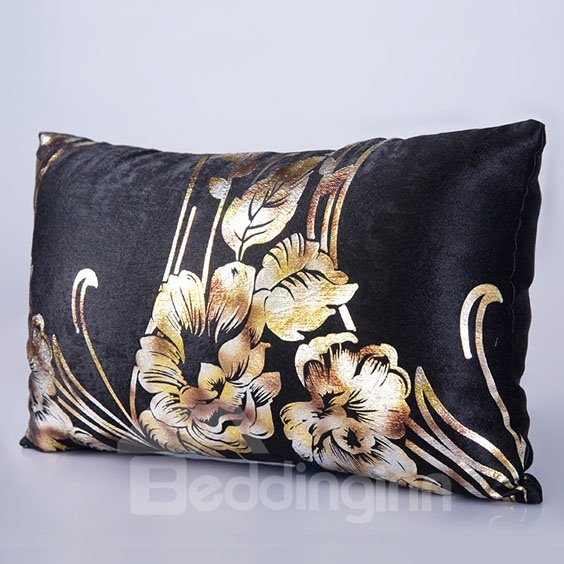 Wonderful Gold Color Flowers Pattern Ultra Warm and Comfortable Bed Pillow Case