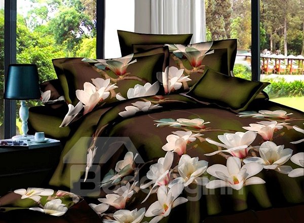 Wonderful White Flower Print 4-Piece Polyester Duvet Cover Sets