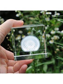 Popular Beautiful Dandelion Crystal Cube Desktop Decoration
