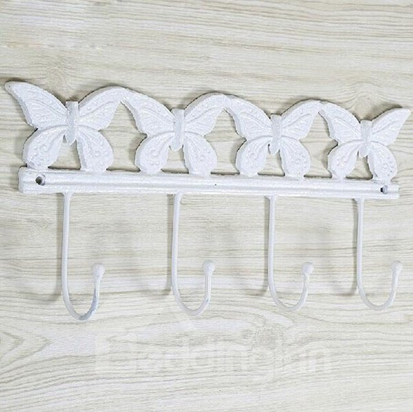 Graceful Colorful Butterfly Decorative Practical Iron Hooks