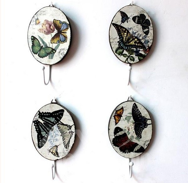 Romantic Rural Style Butterfly 4-piece Decorative Bathroom Hooks