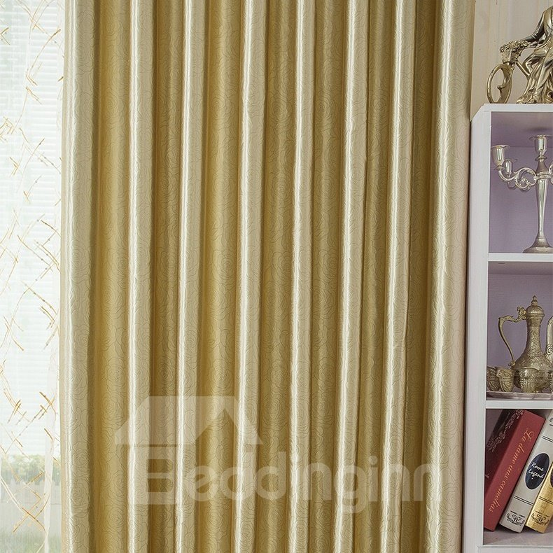 Exquisite Roses Embossed Champagne Grommet Top Curtain with Tassel Valance