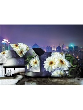 Pretty Daisy Flower in Darkness Print 4-Piece Polyester Duvet Cover Sets