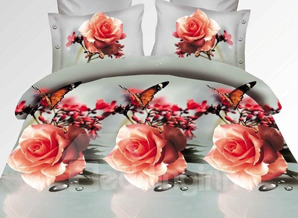 Flying Butterfly and Rose Print 4-Piece Polyester Duvet Cover Sets