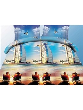 Sunset Hotel Dubai and Pigeon Print 4-Piece Polyester Duvet Cover Sets