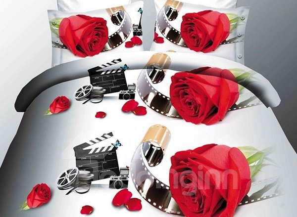 Red Rose and Film Print 4-Piece Polyester Duvet Cover Sets