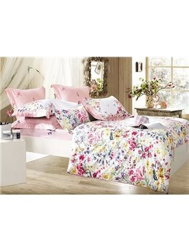 Rural Yellow and Pink Flower Print 4-Piece 100% Cotton Duvet Cover Sets