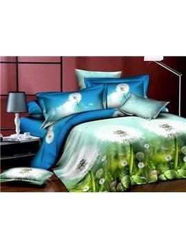 Fancy Dandelion Print 4-Piece Polyester Duvet Cover Sets