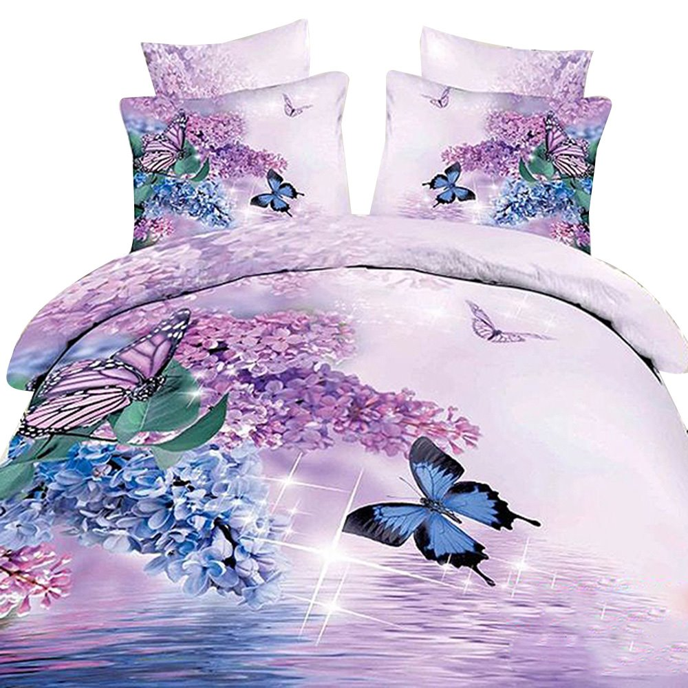 3D Butterfly and Lilac Printed Cotton 4-Piece Bedding Sets/Duvet Covers