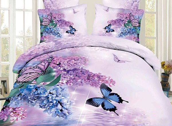 3d Butterfly And Lilac Printed Cotton 4 Piece Bedding Sets
