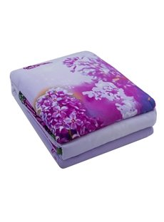Charming Butterfly and Purple Flower Print 4-Piece 100% Cotton Duvet Cover Sets