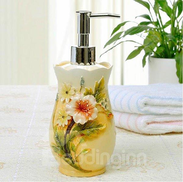 Graceful Rural Resin Flower 4-piece Bath Aceessories