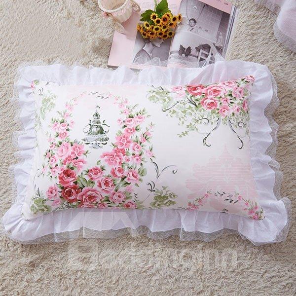 White Border a Pair of Pink Rose Surround Cinderella Pattern Cotton Pillow Case