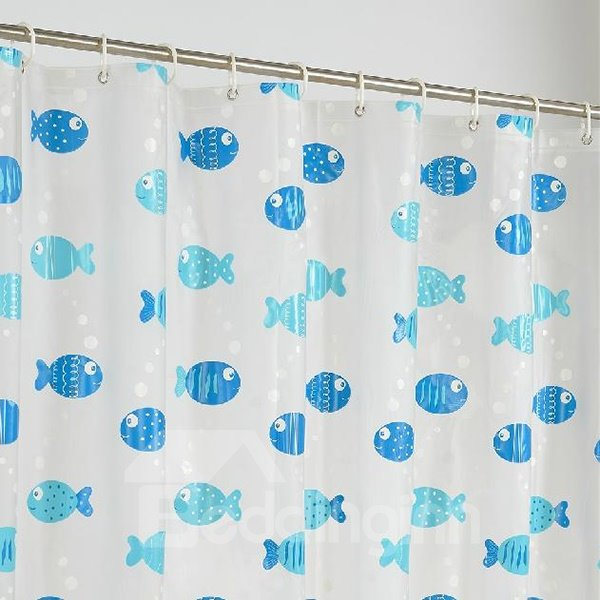 Lovely Fabulous Cartoon Blue Fishes Shower Curtain