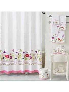 European Fresh Floral Pattern Polyester Shower Curtain