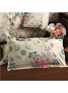 Pastoral Style Pink Flower Green Branches Pattern Beige 2-Piece Pillow Cases