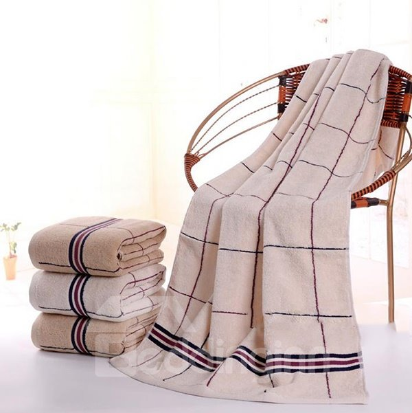 Classical Stylish Gorgeous Plaid Cotton Bath Towel