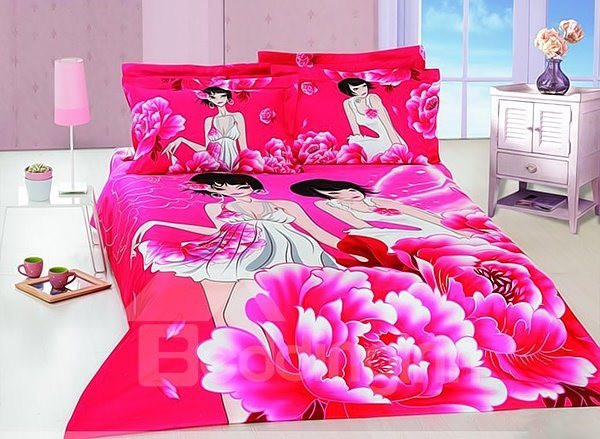 Brilliant Flower and Angel Print 4-Piece Cotton Duvet Cover Sets