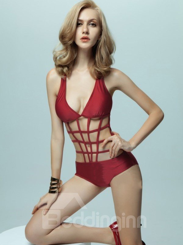 Sexy Net Waist Deep V-Neck Swimwear One-Piece Monokini