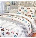 Kart Racing Print 3-Piece Cotton Duvet Cover Sets