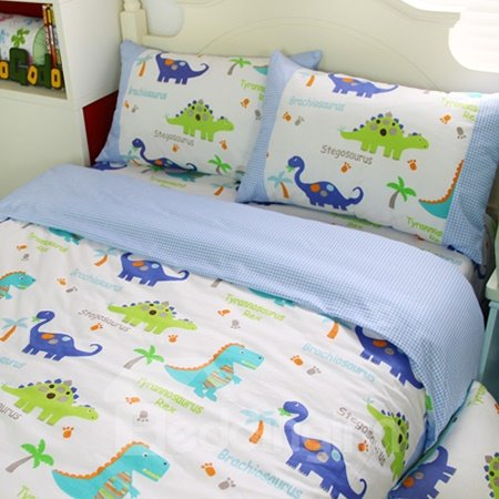 Dragon Garden Print 3-Piece Cotton Kids Duvet Cover Sets