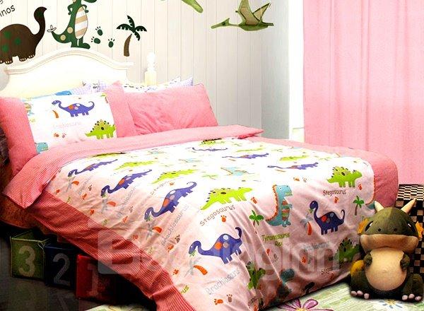 Pink Dragon Garden Print 3-Piece Cotton Kids Duvet Cover Sets