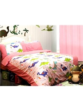 Pink Dragon Garden Print 3-Piece Cotton Kids Duvet Cover Sets