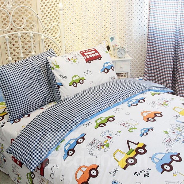 Hot Selling Kart Racing Print 3-Piece Cotton Kids Duvet Cover Sets