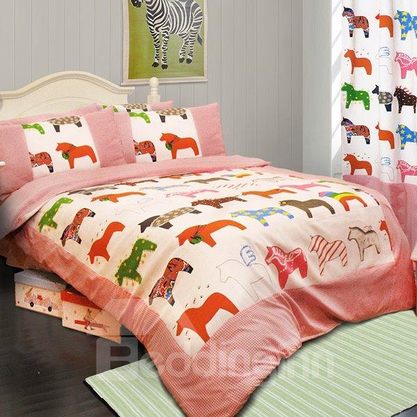 Super Cute Horse Print 3-Piece Cotton Kids Duvet Cover Sets