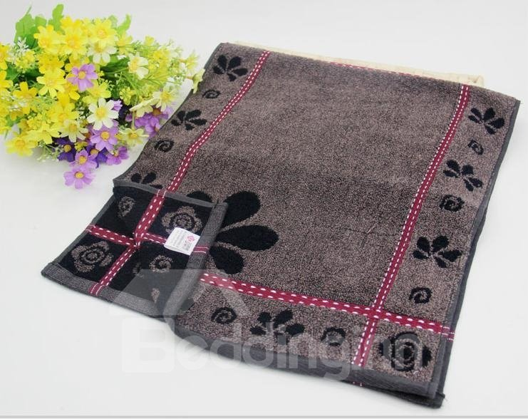 Fabulous Deep Color Flower Pattern Cotton Towel