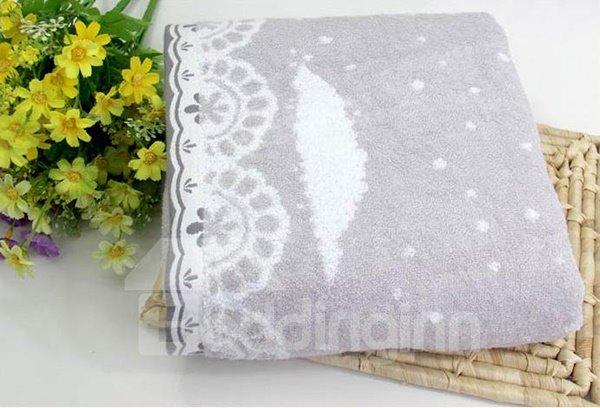 Top Class Elegant Flower Border Bath Cotton Towel
