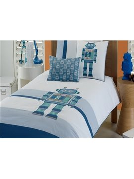 Robot Embroidered 4-Piece 100% Cotton Duvet Cover Sets
