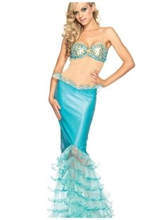 Sexy Open Back Chiffon Tail Mermaid Costume