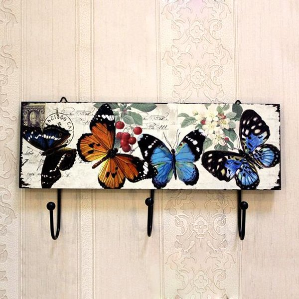 Romantic European Rural Butterflies Print Wood Hooks
