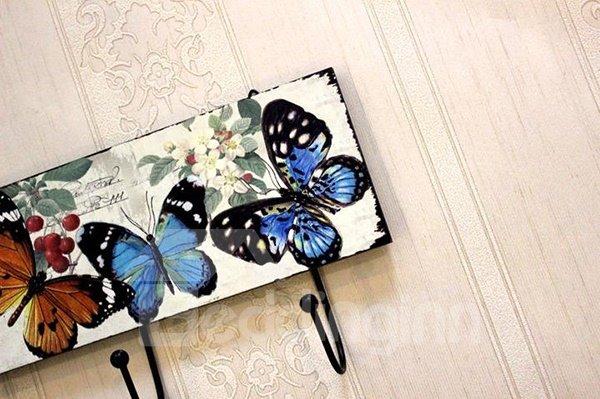 Romantic European Rural Butterflies Print Wood Hooks