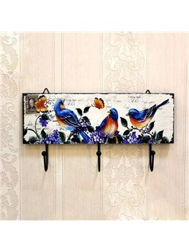 Retro European Rural Birds Print Wood Hooks