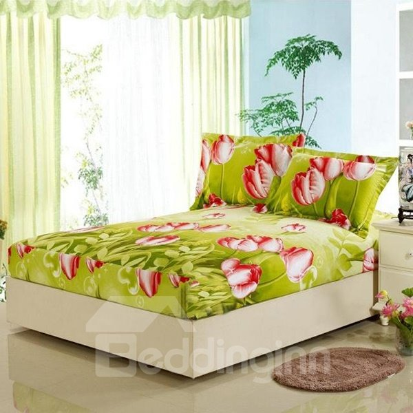 Red Tulip Green Plants Pattern Ultra Comfortable Plush Fitted Sheet
