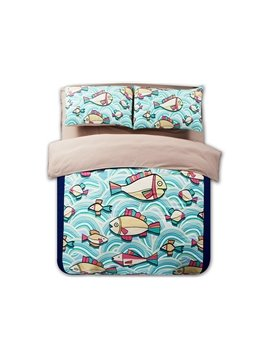 Swimming Fish Print 4-Piece Polyester Duvet Cover Sets