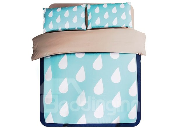 Raindrops Print 4-Piece Polyester Duvet Cover Sets