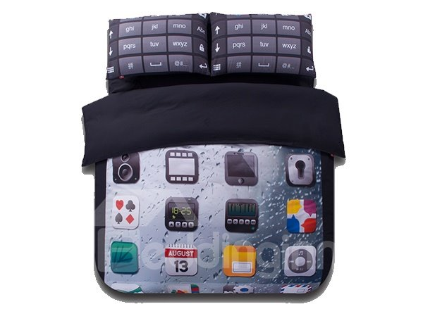 Phone Desktop Print 4-Piece Polyester Duvet Cover Sets