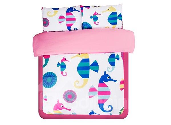 Colorful Stripe Sea Horse Print 3-Piece Skincare Duvet Cover Sets