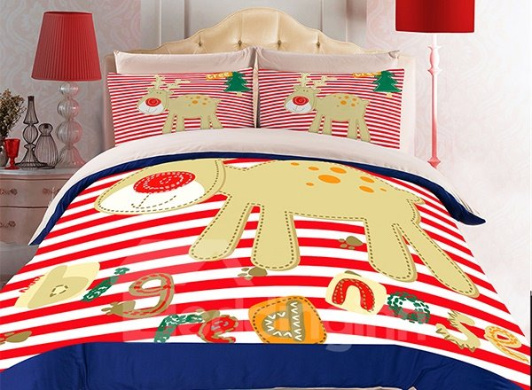 Cute Deer and Red Stripes Print 3-Piece Duvet Cover Sets