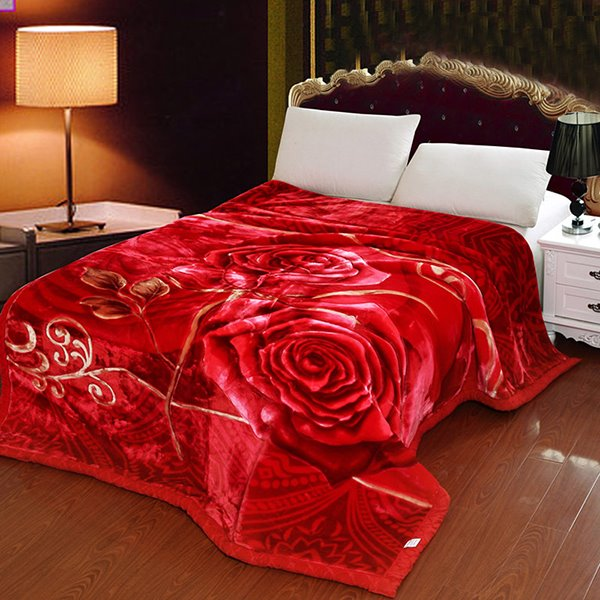 Thick Style Full Blooming Red Rose Pattern Two Layer Comfortable Blanket